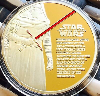 Star Wars Coin Finished In 24k Gold 1oz .999 The Force Awakens Movie Medallion