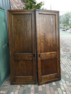 Rd  9 One Pair Antique Two Panel Flat Pocket Doors Oak