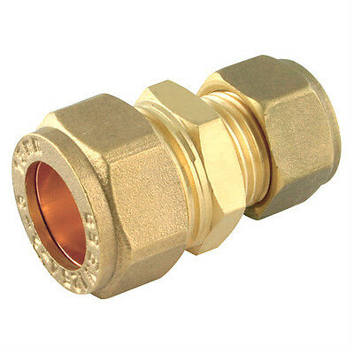 Brass REDUCING Straight Coupler - Compression Fitting Plumbing Quality Coupling