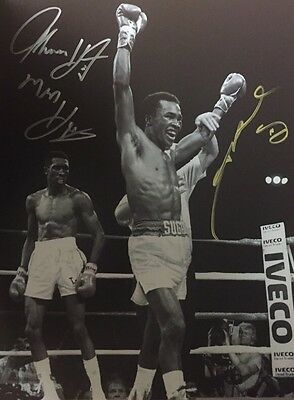 Sugar Ray Leonard and Tommy Hearns Dual Hand Signed Photo 16x12 RARE COA