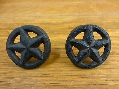2 BROWN RUSTIC STAR DRAWER DOOR PULLS KNOBS CAST IRON CABINET HARDWARE western