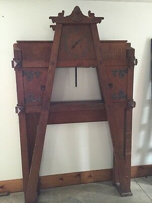 Antique Quartersawn Oak Fancy Mission Mantle With Clock