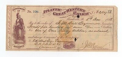 1868 Atlantic and Great Western Railway Company Check