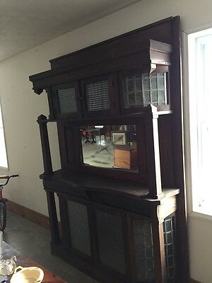 Antique Arts And Crafts With Leaded Glass Sideboard As Found Oak