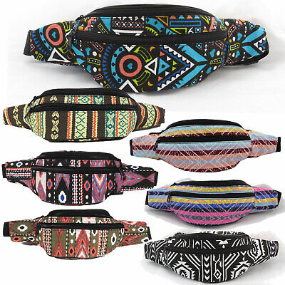 New Aztec Print Fanny Pack Waist Travel Bag Tribal Indian Ikat Festival Pouch