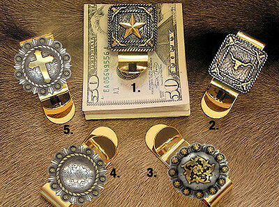 Western Cowboy Gold Concho Money Clip (Your Choice of Concho)