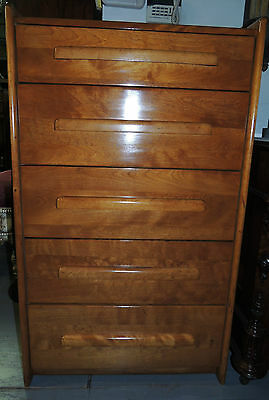 Mid Century Antique High Chest of Drawers five-drawer maple dresser/chest bureau