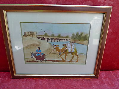 very pretty,old Picture__oriental Painting__Camel driverSigned__