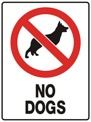 """SIGN """"NO DOGS 5mm corflute 300MM X 225MM"""""""