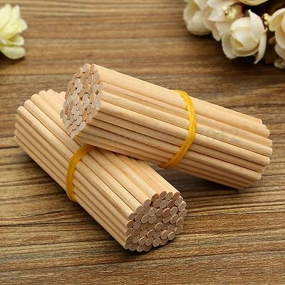 100/200X Round Wooden Lollipop Lolly Sticks Cake Dowel 80mm For DIY Food Crafts
