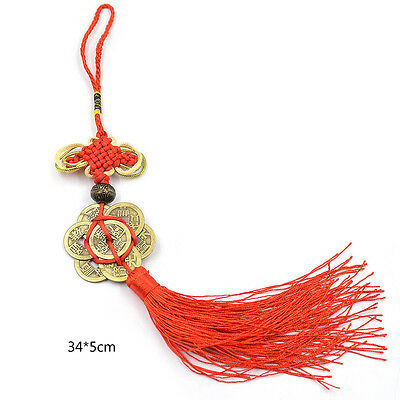 6 Coins Flower Chinese Knot Feng Shui Tassel Car Bag Hanger Keychain Lucky Red