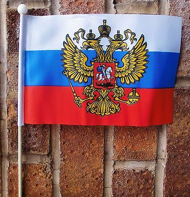 "RUSSIA WITH CREST medium HAND WAVING FLAG 9""X6"" 22.5cm x 15cm RUSSIAN FEDERATION"