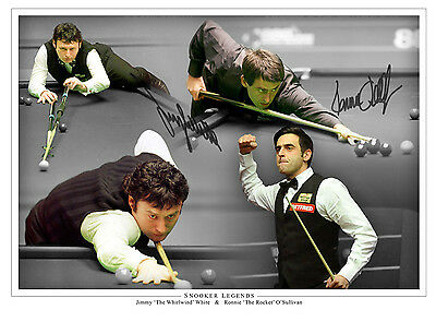 Jimmy White And Ronnie O'Sullivan Signed Photo 16x12 Montage Snooker Legend COA