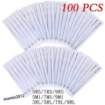 100 x Mixed Tattoo Needles Round Liner/ Shader/Magnum RL/RS All Size Each 10pcs