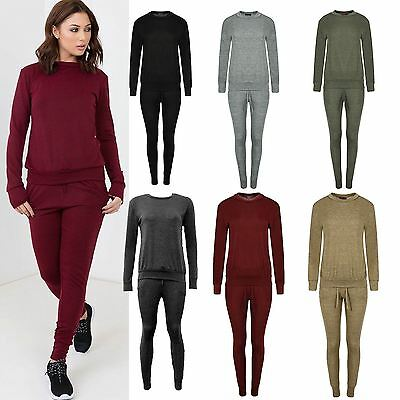 Womens Ladies Lounge suit Tracksuit Fitness Plain Top Bottom Relax Fit