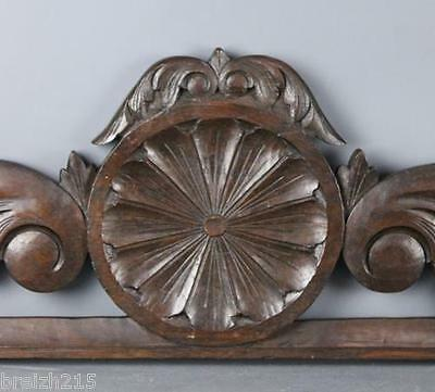 French Carved Wood Pediment Flower and Acanthus
