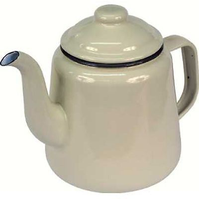 Falcon Cream Enamel Tea Pot With Handle & Lid Teapot - Camping