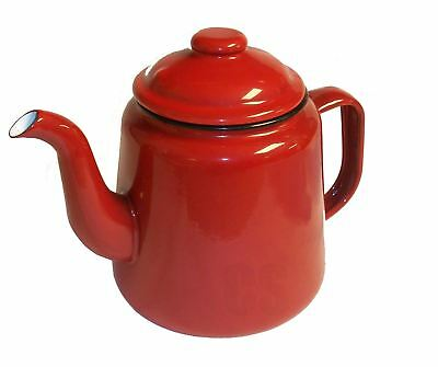 Falcon Red Enamel Tea Pot With Handle & Lid Camping Teapot