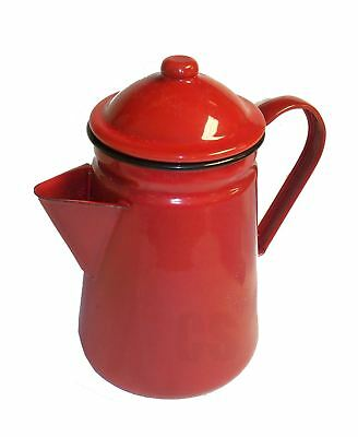 Falcon Red Enamel Tall Coffee Pot With Handle & Lid Tea Camping Teapot