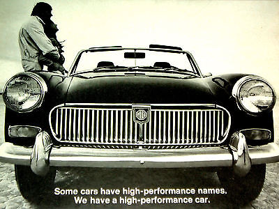 "1970 MG MIDGET ORIGINAL AD-""WE HAVE A HIGH-PERFORMANCE CAR""-vtg/1.3 l L4 engine"
