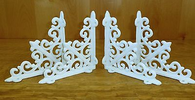 "4 WHITE ANTIQUE-STYLE 5.5"" CAST IRON SHELF BRACKETS garden rustic fleur ARROW"