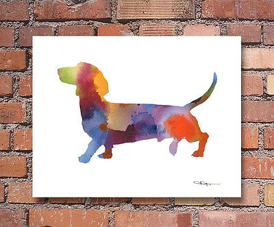 Dachshund Abstract Watercolor Painting Art Print by Artist DJ Rogers