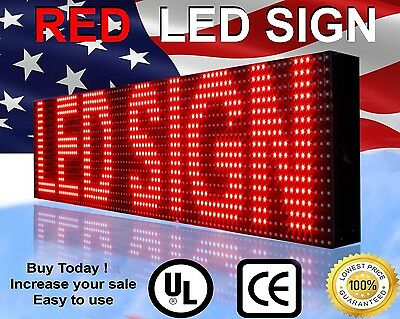 """RED COLOR LED SIGN 7""""X26"""" Outdoor 10mm Programmable Scrolling Text Logo Display"""