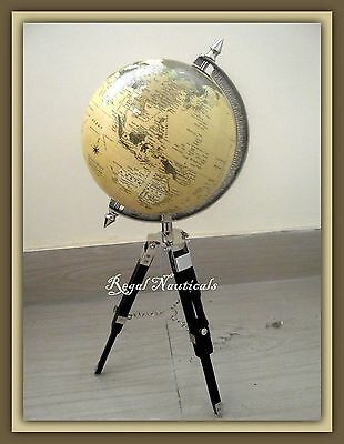 Old World Globe On Tripod Stand Desk Top Very Interesting Item beautiful gifts