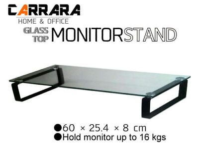 Tempered Glass Computer Monitor Stand Carrara Home Office Laptop Sydney Stock