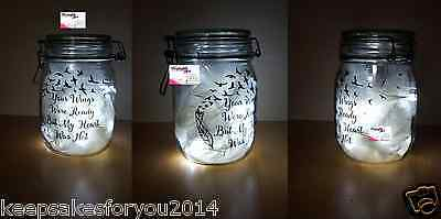 Personalised Memory Jar's With Lights & Feathers - Lots Of Quotes To Choose
