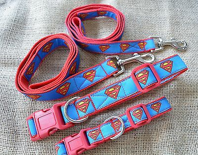 Dog Collar and Lead Sets by Floral Pooch SUPERMAN JACQUARD RIBBON