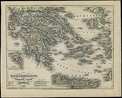 Greece Crete Ionian Islands Athens 1854 Meyer scarce detailed antique map