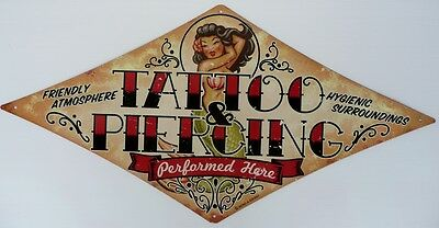 TATTOO & PIERCING PERFORMED HERE Metal tin Sign ALL WEATHER  710X355