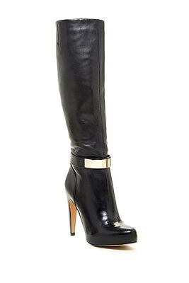 35cd687538958 Sam Edelman Klara Black Boots Gold High Leather Multiple Sizes NEW NIB 7  7.5 8