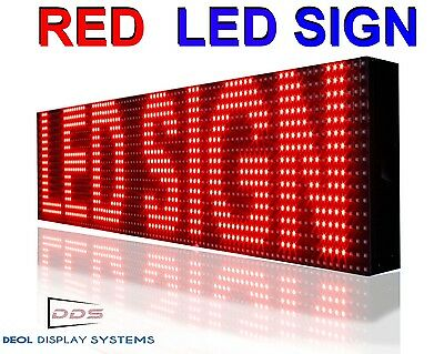 "OUTDOOR RED LED SIGN 7''x89"" PROGRAMMABLE HD QUALITY LOGO TEXT BEER BAR BOARD"