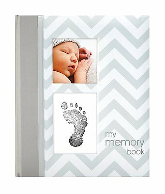 New Pearhead Chevron Baby Memory Keepsake Book Girl Boy Footprint Touch Pad Grey