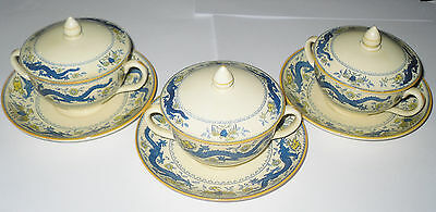 Mintons Chocolate Cups Saucers & Lids Dragon Bird & Floral Design Early 1900's