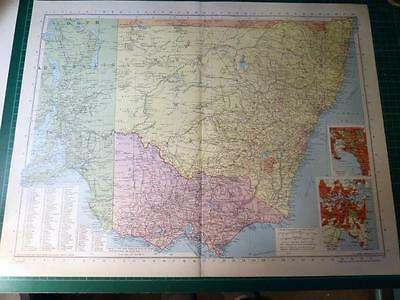 Map From Philip's Atlas 1945 - Nsw, Victoria & South Australia......103-4/45