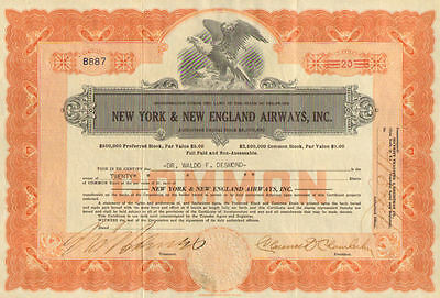New York & New England Airways Inc   Clarence Chamberlin stock certificate