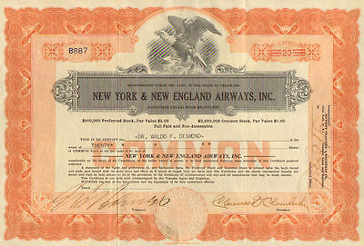 New York & New England Airways Inc > Clarence Chamberlin stock certificate