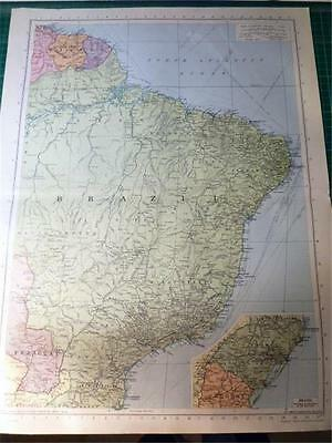 Map From Philip's Atlas 1945 - South America - North East....157-58/45