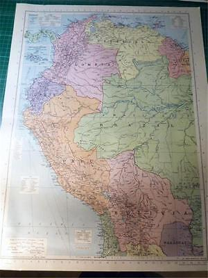 Map From Philip's Atlas 1945 - South America - North West....155-56/45