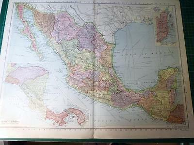 Map From Philip's Atlas 1945 - Mexico & Central America....149-50/45