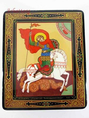"""Russian Lacquer box style Mstera """"Georgy Pobedonosets"""" Hand Painted.  №111-4"""