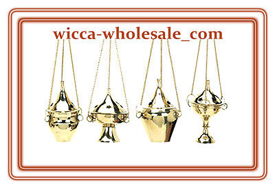 1 Assorted Hanging Brass Censer Incense Charcoal Cone Resin Burner and FREE SHIP