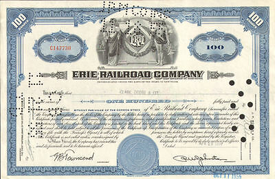 Erie Railroad Company > New York stock certificate blue 100 shares