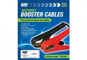 MAYPOLE BOOSTER CABLES JUMP LEADS 250A 7.5mm x 2.5 METRE LENGTH SUITS TO 2000cc