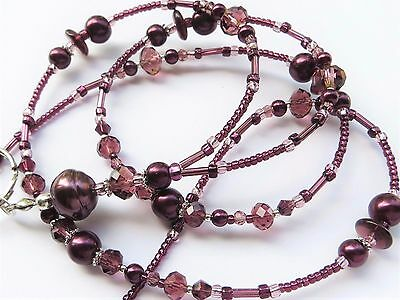 AMETHYST ELEGANCE- Beaded ID Lanyard- Pearls and Sparkling Crystals