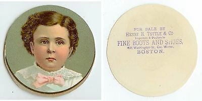c1880s Boston Massachusetts Henry H Tuttle Boots And Shoes round trade card