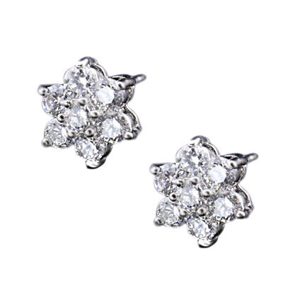 Clear crystal Cubic Zirconia Flower Stud Earring Small white gold GP